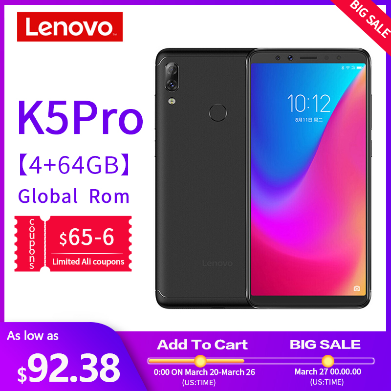 Global Version Lenovo Mobile Phone K5 Pro 6GB+64GB Smartphone Snapdragon 636 Octa Core Four Cameras 5.99 Inch 4G LTE Cellphone