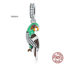 DISINIYA  100% 925 Sterling Silver Tropical Parrot Charm Beads Fit Original Bracelet Pendant Authentic Fine Jewelry