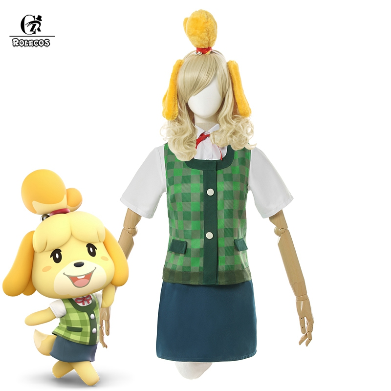 ROLECOS Animal Crossing Isabelle Cosplay Costume Game Animal Crossing New Horizons Costume Women Uniform Outfit Tail Headwear