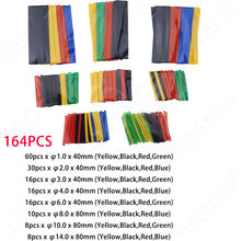 164pcs 328pcs 530pcs 127pcs/Bag Heat Shrink Tube Kit Shrinking Assorted Polyolefin Insulation Sleeving Wire Cable 8 Sizes 2:1