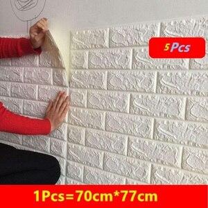 Image 1 - Adesivos de decoração de tijolo para casa, faça você mesmo, adesivos de tijolo para parede da sala de estar, quarto, espuma, arte de casa para crianças papel de parede 3d