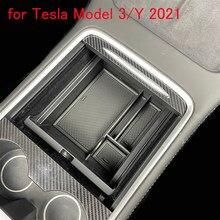 Caja de almacenamiento de reposabrazos para Tesla modelo 3 2021, caja para reposabrazos Central de coche, portavasos, contenedor para automóvil, organizador de guante, Cas