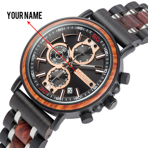 BOBO BIRD Personalized Wooden Watch Men Relogio Masculino Top Brand Luxury Chronograph Military Watches Anniversary Gift for Him(China)