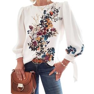 Women Blouse Flora Printed Blouse Long Sleeve Loose Pullover Blouse Chic Casual Tops Shirt