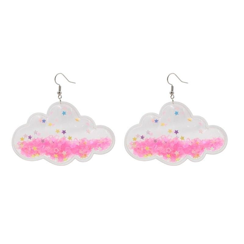 Romantique rose étoiles nuages acrylique balancent boucles d'oreilles pour les femmes doux bijoux
