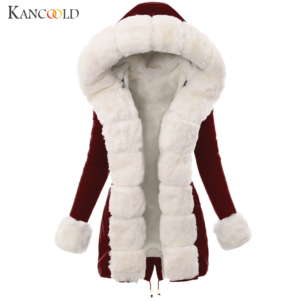 KANCOOLD Coats Women Winter Warm Plush Imitation Fur Jacket Splicing Long Hooded Overcoat Pocket Fashion New Coat Women 2019DEC4