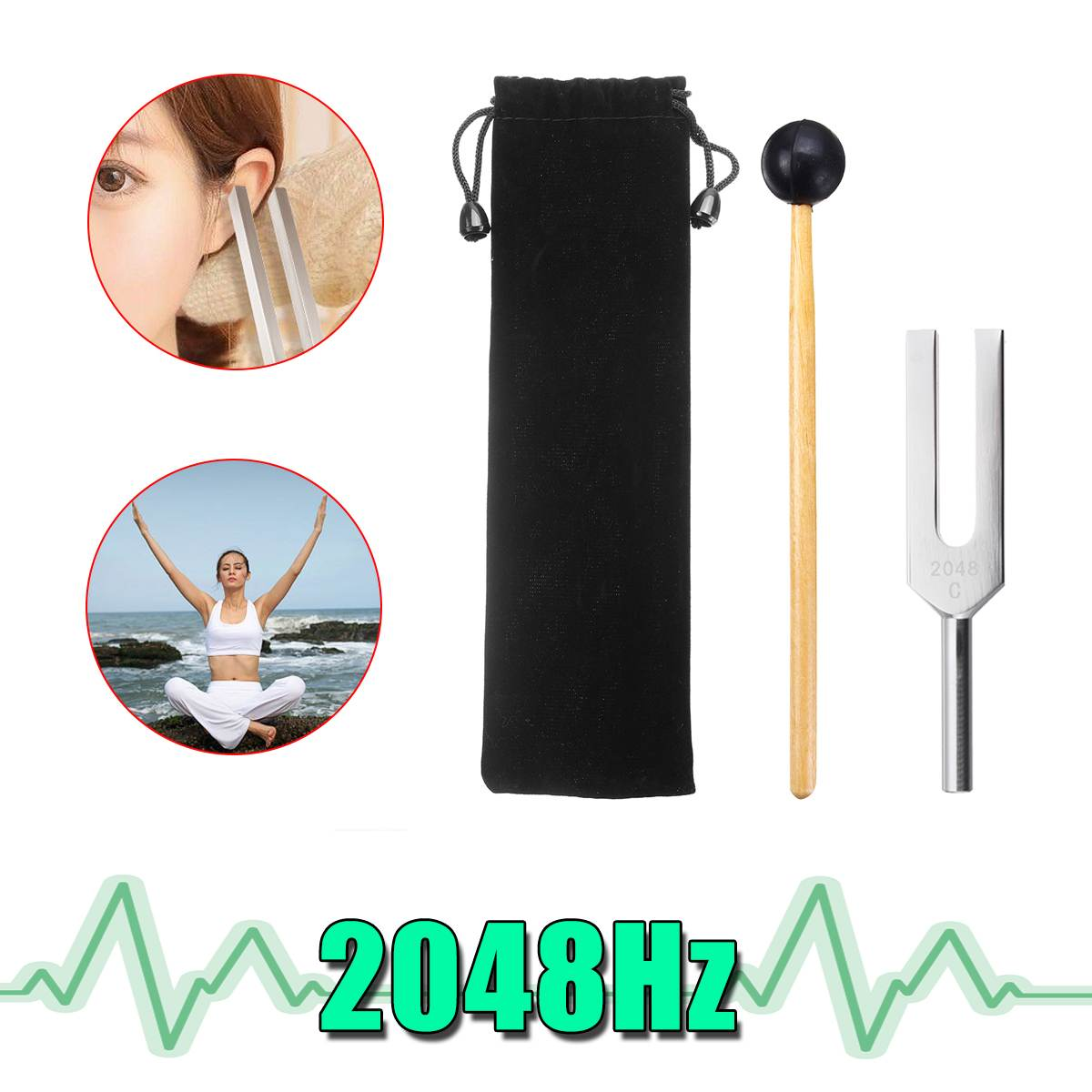 2048Hz Aluminum Medical Tuning Fork+Mallet Chakra Hammer Ball Diagnostic Nervous System Testing Tuning Fork Health Care W/Bag