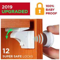 Cerradura magnética para niños 4-12 cerraduras + 1-3 Llaves protecciones de seguridad para bebés, cerradura de puerta, armario de seguridad para niños cerrojos invisibles