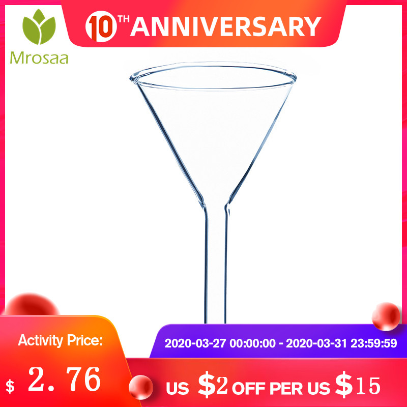 New Arrival Mrosaa 1Pc 60mm Transparent Glass Triangle Funnel Lab Glassware Laboraotry Chemistry Educational Stationery