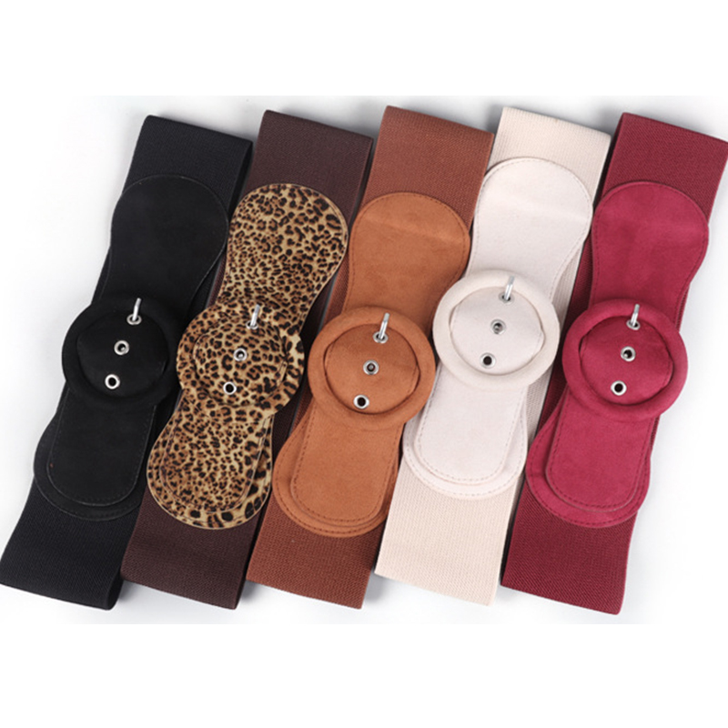 Women's Suede Elasticated Belt Down Jacket Wide Belt Good Matching Dress Pin Buckle Girdle Buckle Soft Elastic Waistband Leopard