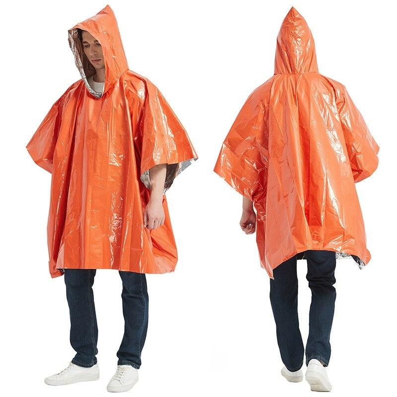 Emergency Raincoat Aluminum Film Cold Insulation Rainwear Blankets Survival T ZT