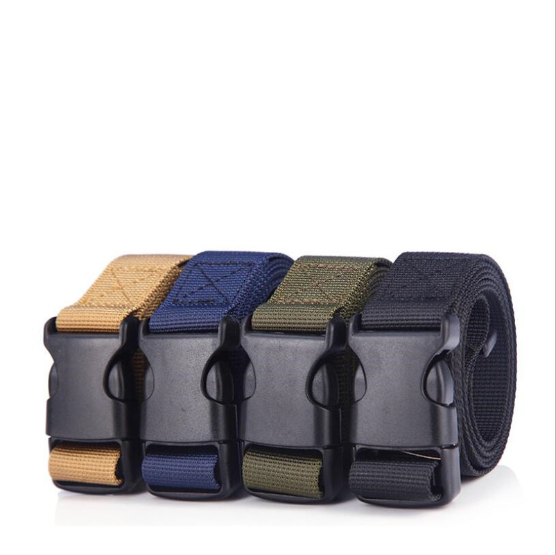 Men's Military Outdoor Girdle Leisure Buckle Belt Multi-functional Imitation Nylon Canvas Tactical Belt  Punk 120cm Black