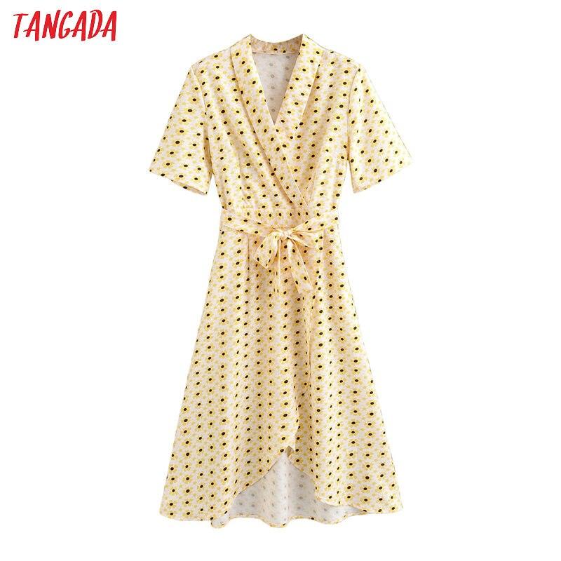 Tangada Fashion Women Yellow Floral Print Summer Dress Short Sleeve Slash Ladies Elegant Work Midi Dress Vestidos 1F72
