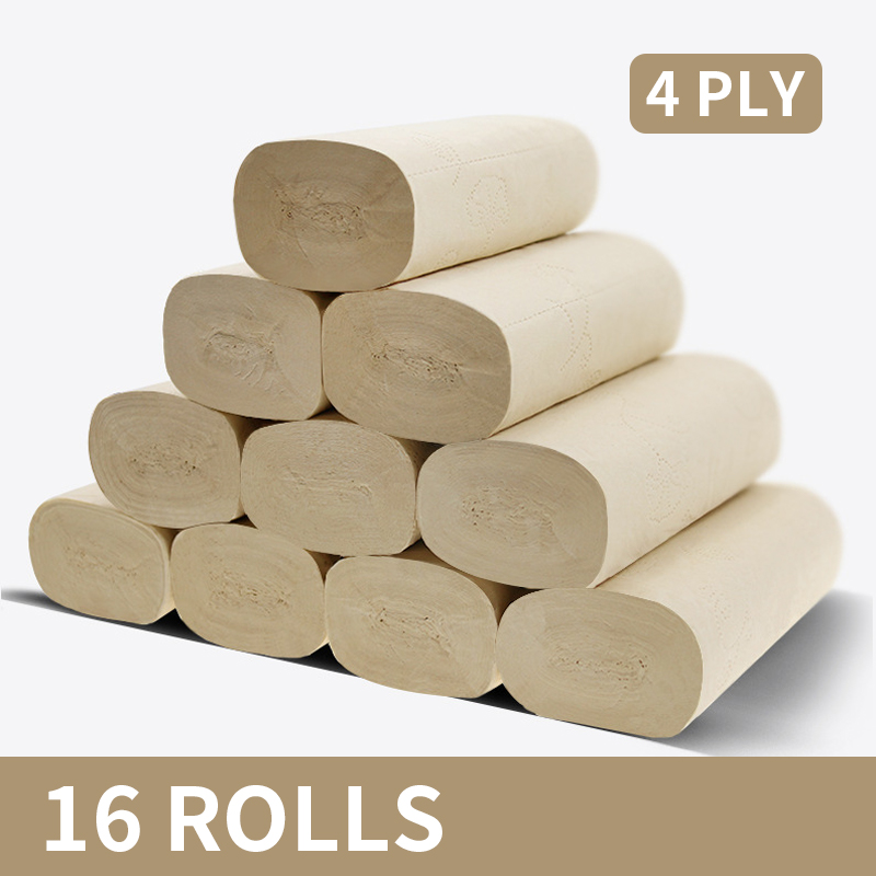 Toilet Paper Roll Tissue Silky Smooth Soft Premium 4-Ply Strong And Highly Absorbent Hand Towels For Daily Use 16 Rolls