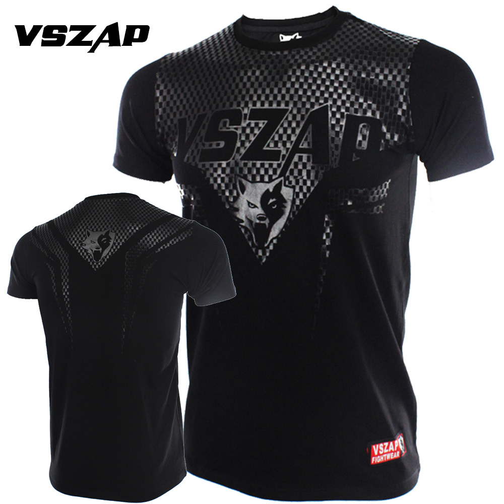 VSZAP Bangkok Boxing MMA T Shirt Gym Tee Fighting Martial Arts Fitness Training Wolf
