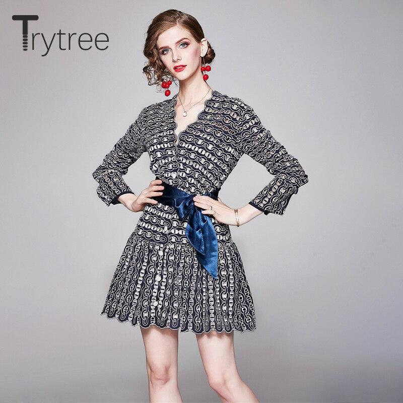 Trytree outono inverno feminino vestido casual com decote em v moda elegante geométrica oco para fora babados mini fino ajuste senhora do escritório vestido