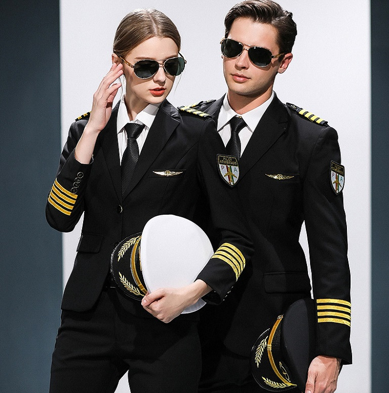 Airline Co Flight Attendant Uniform KTV Hotel Professional Suits Hat + Jacket + Pants Female Male Captain Suits Air Crew Uniform