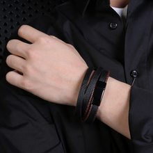 ZG Geometric fashion new men's jewelry leather bracelet stainless steel magnetic buckle retro brown black rope chain gifts(China)