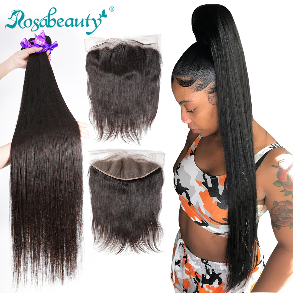 Rosabeauty Straight 8 - 28 30 40 Inch Bundles With Lace Frontal Closure Cheap Remy Brazilian 100% Human Hair Weave And Frontal