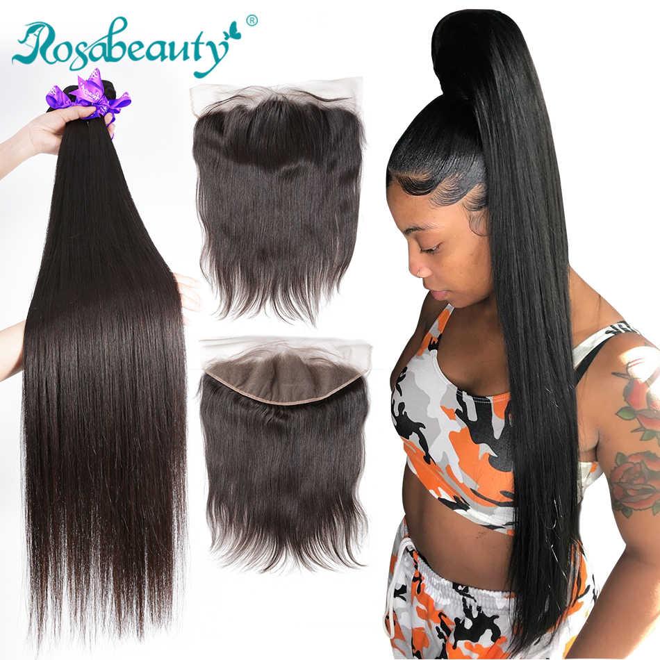 Rosabeauty recto 8-28 30 mechones de 40 pulgadas con cierre Frontal de encaje barato Remy brasileño 100% cabello humano tejido y Frontal