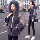 Fur Hooded Plaid Lam...
