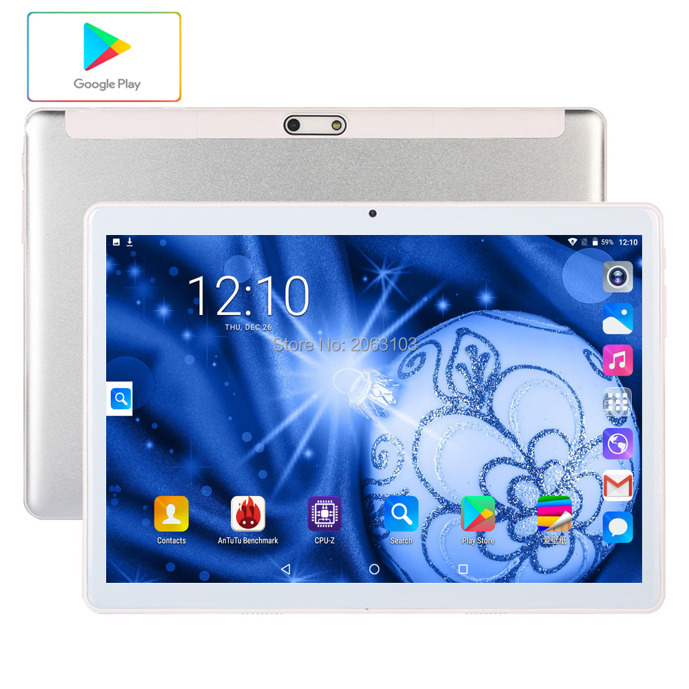 10.1 Inch Tablets 2.5D Tempered Glass 4G/3G Phone Call Android 9.0 Quad Core  96GB ROM 5.0MP IPS Wi-Fi Cards Tablets PC