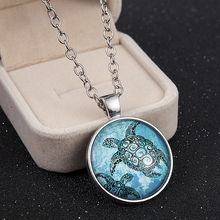 Deep blue sea turtle Glass dome Necklace chain Pendant  statement necklace long pendant necklace christmas gift wholesale