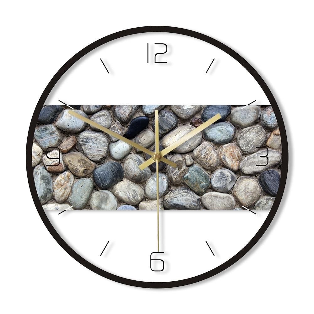 Grey River Rocks Stone Print Wall Art Modern Round Wall Clock Coastal Beach Home Decor Silent Sweep Movement Pebble Wall Watch
