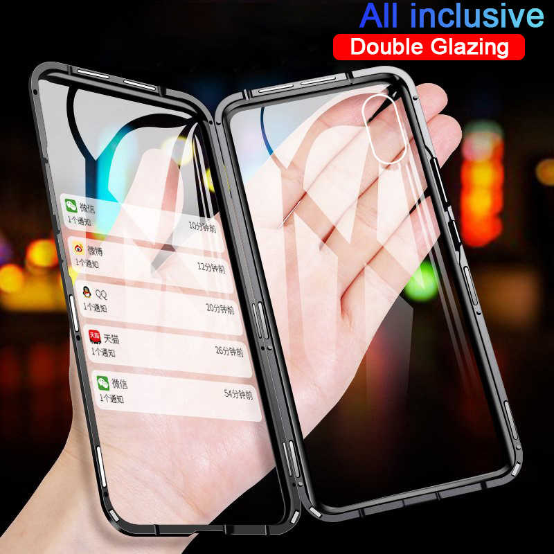Funda metálica magnética 360 para iphone 7 8 6 6S Plus funda lateral doble para iphone X XR XS 11 Pro MAX funda abatible de vidrio templado