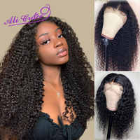 Ali Grace Peruvian Kinky Curly Lace Front Wigs 100% Remy Human Hair Wigs with Baby Hair 150% Density Pre-plucked Natural Color