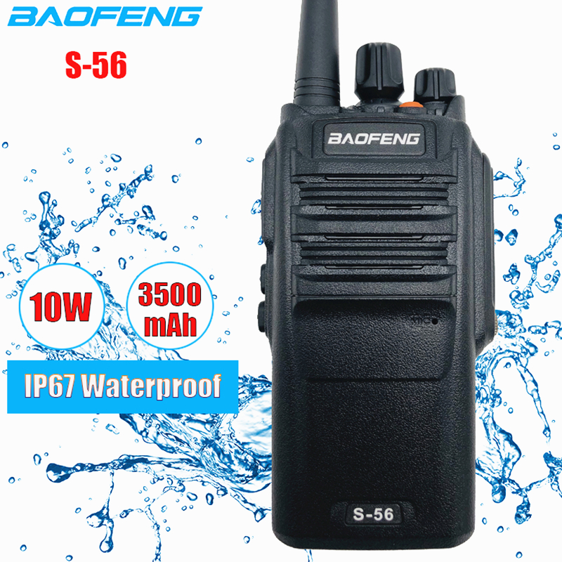 10W Waterproof Baofeng S-56 Walkie Talkie 3500mAh Hunting Ham CB Radio Station 10km UHF Two Way Radio Transceiver BF-9700 рация