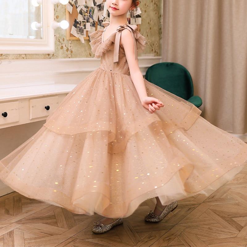 Princess Little Girl Dresses Ball Gown Vestidos Comunion Bow Floor Length Organza Kids Wedding Party Flower Girl Pageant Dresses