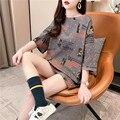 Женская футболка с коротким рукавом, Новинка лета 2021, свободный Женский Длинный топ большого размера в Корейском стиле