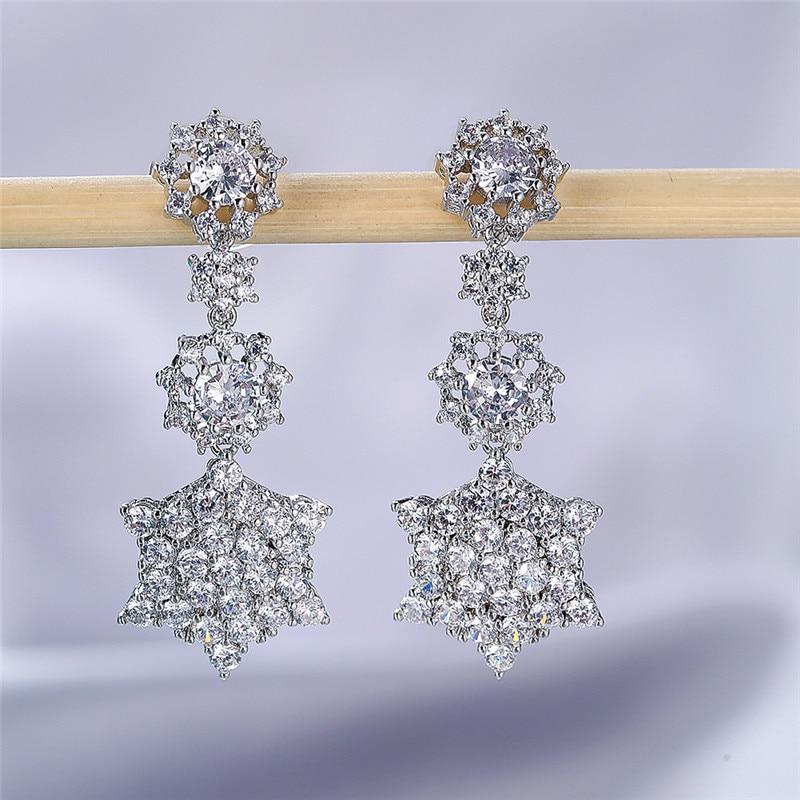 Vintage Female White Crystal Drop Earrings Dainty Zircon Star Dangle Earrings Cute Silver Color Wedding Earrings For Women