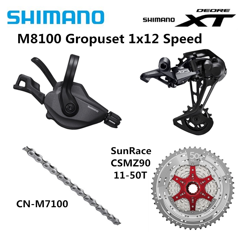 SHIMANO DEORE XT M8100 4 Pcs Groupset Mountain Bike Bicycle 1x12s 11-50T SL+RD+CSMZ90+KMCX12/CN-M7100 Rear Derailleur Long Cage image