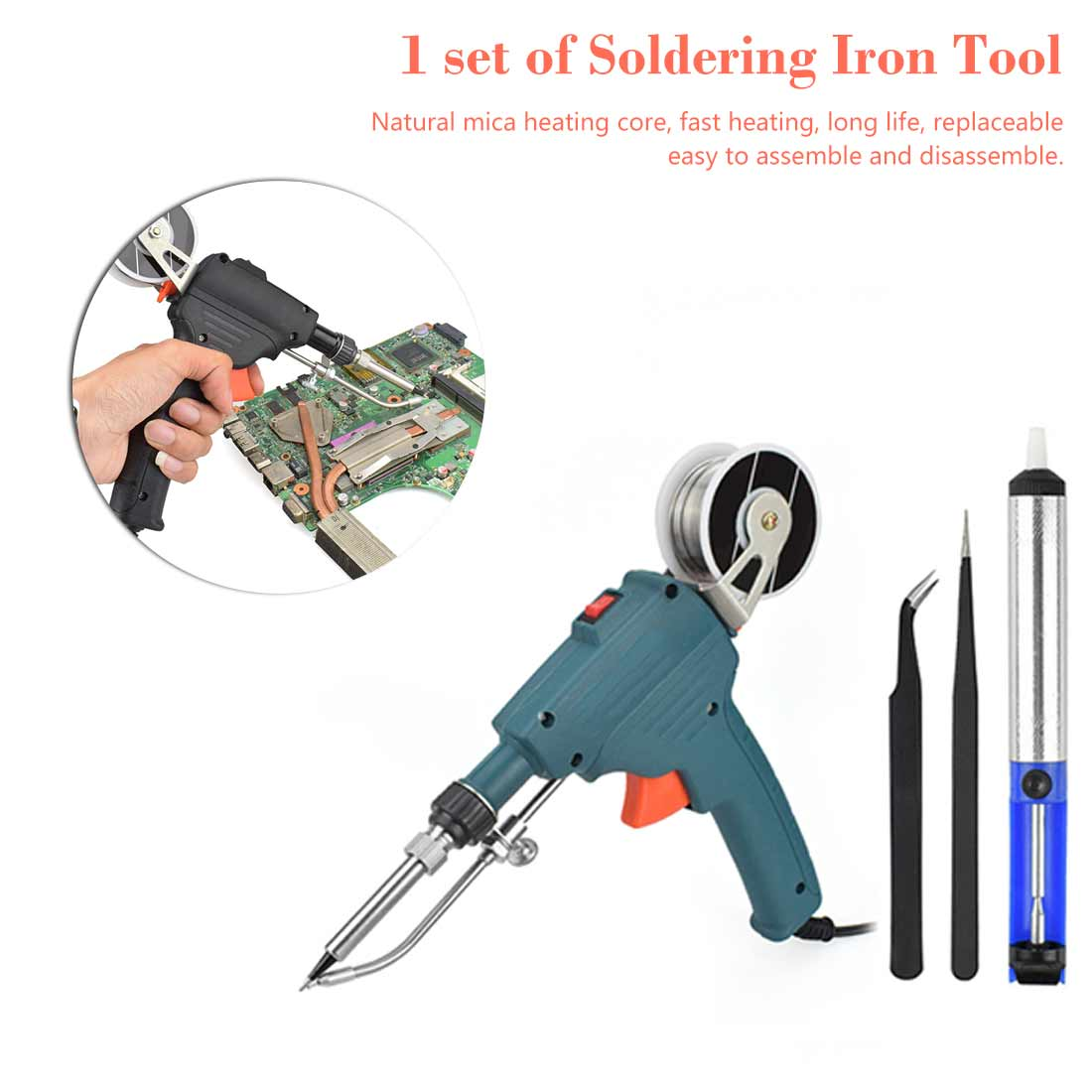 Electric Iron 60W Single Hand Welding Electric Automatic Soldering Tin Tool Solder Tool Kit Station Welding Repair Tool