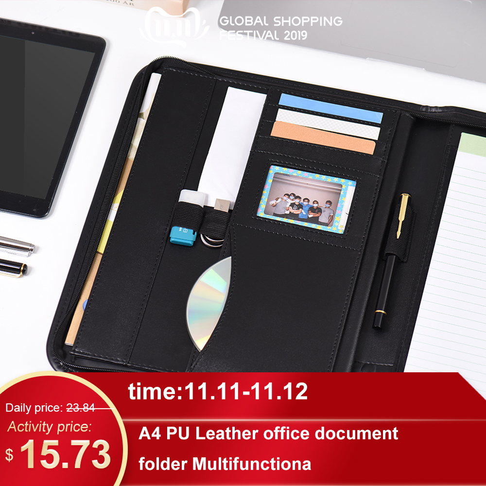 A5 PU Leather  Manager Folder Business Portable  Folder Document Case Organizer With Business Card Holder Memo Note Pad