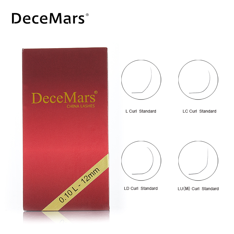 DeceMars L LC LD LU M Eyelash Extension 8-15mm Mixed Length PBT Mink Eyelash Extension For Grafting L Shaped Lashes LC