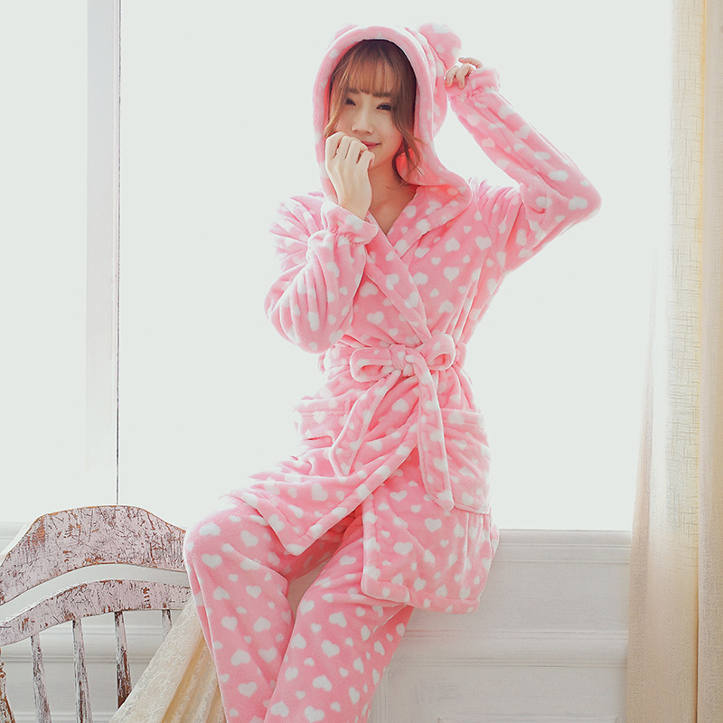 Winter Heavy Flannel Pajamas Coral Pile Pajamas Female Homewear Suit With Hat And Ears Bathrobe Lounge Negligee Pajamas Халат