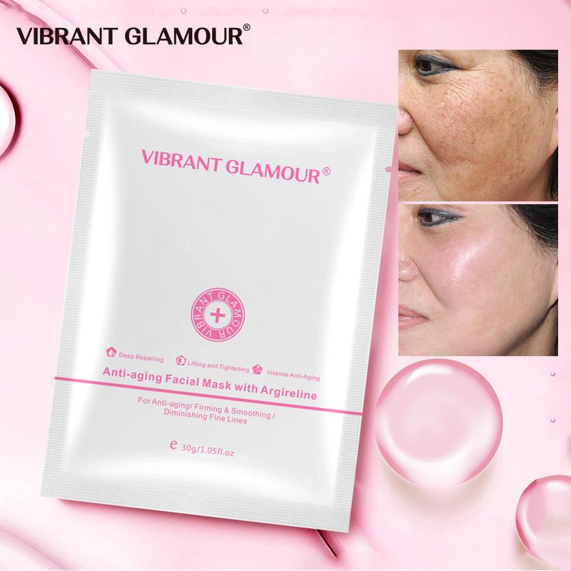 VIBRANT GLAMOUR Argireline Facial Mask Anti-Aging Moisturizing Lift Firming Whitening Reduce Fine Lines Brightening Skin Care