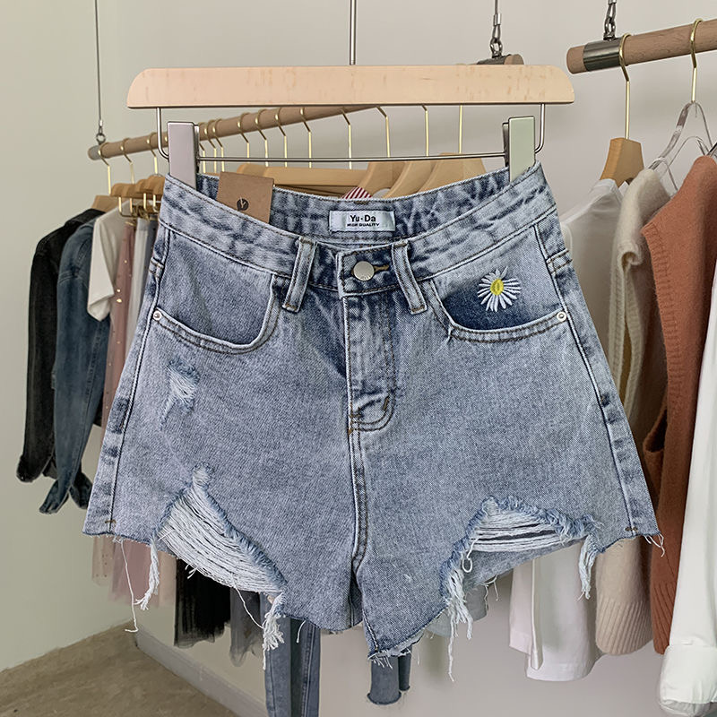 Blue Jeans For Women Summer Shorts Casual Breathable High Waisted  Comfortable  Concise Stylish Pretty Daisy Embroidery  Ladies