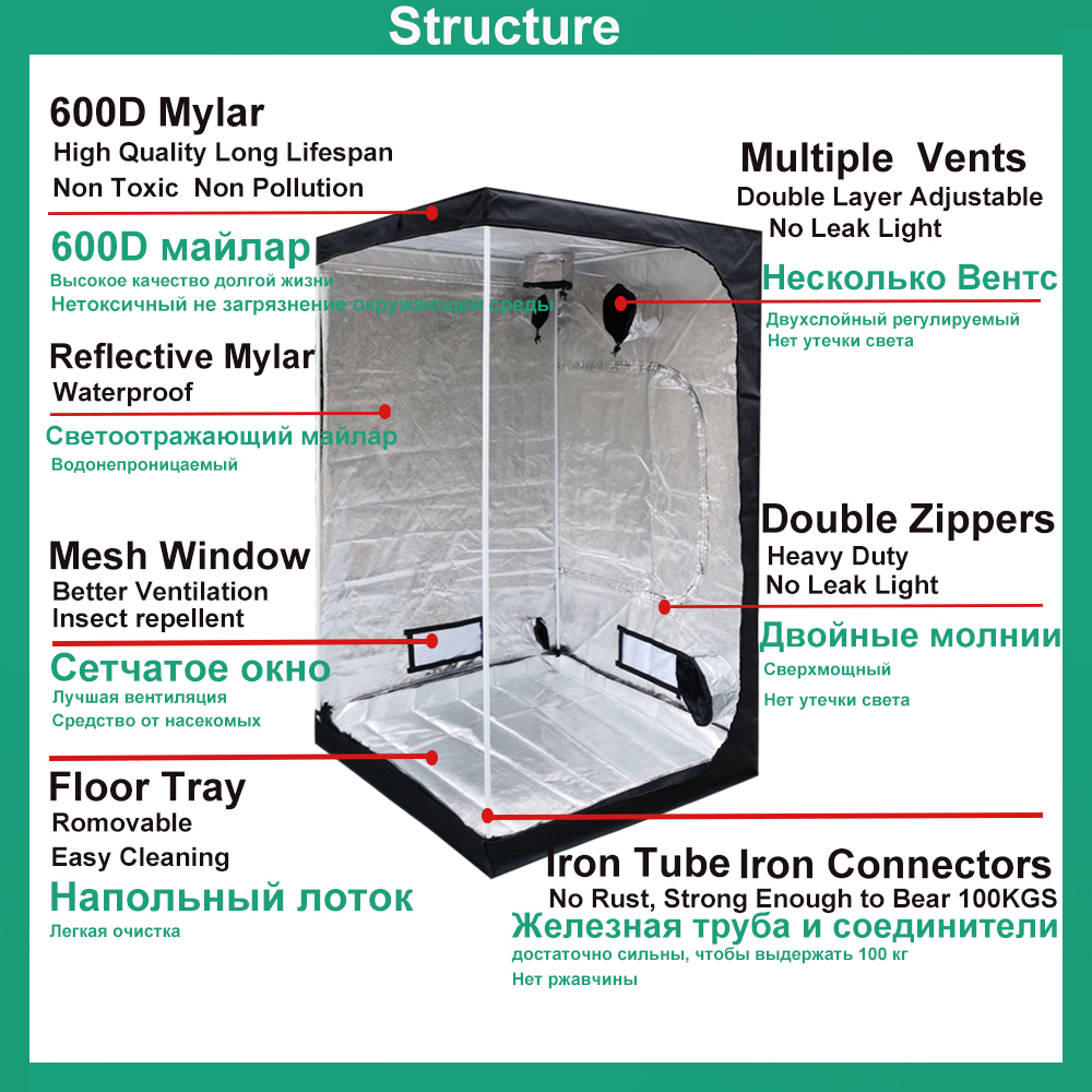 BEYLSION Plant Grow Tents Growing Tent For Indoor Grow Light Accessories Hydroponic Grow Box Grow Tent Mylar+Ratchet Hangers 3