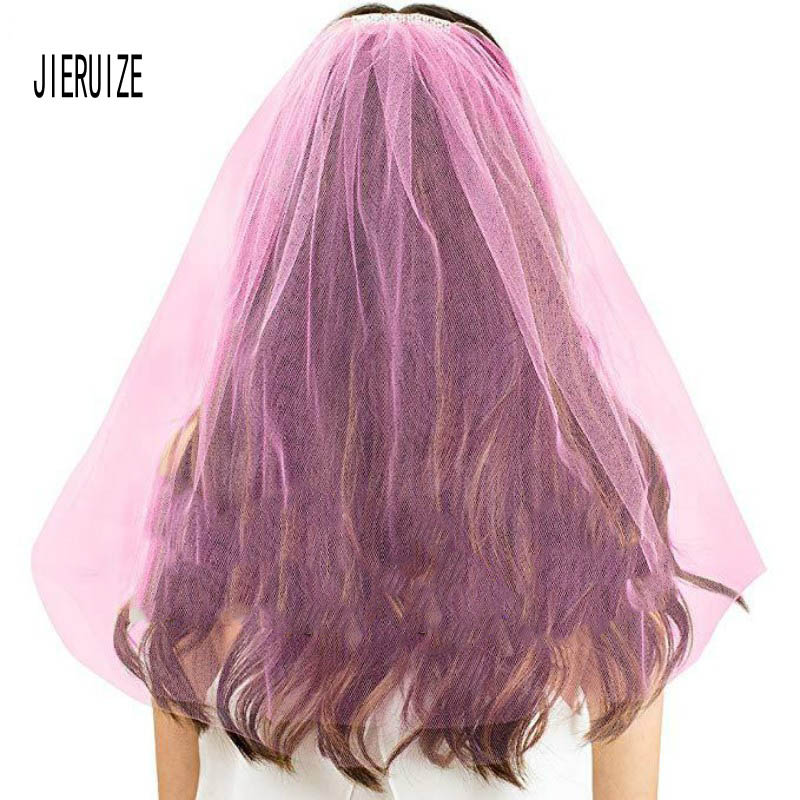 JIERUIZE Rose Red To Be Gold  Bridal Veils With Comb Two Layer Tulle Wedding Veil Wedding Accessories