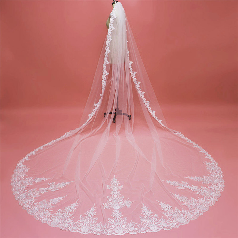 High Quality Long Bridal Veil  4 Meters White Ivory Tulle Lace Wedding Veil with Comb Bruids Sluier Wedding Accessories 2020