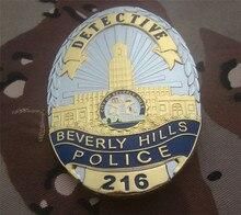 Amerika birleşik Devletleri Beverly Hills Polis Memuru Rozetleri Bakır DEDEKTIF Gömlek Yaka Rozeti Broş Pin Rozeti 1:1 Hediye Cosplay Prop