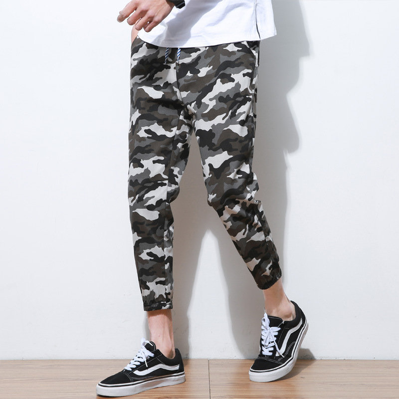 2020 Summer Men's Linen Pant Skinny Capri Pants Teenager Learn Cotton Linen Thin Casual Camouflage Pants Large Size