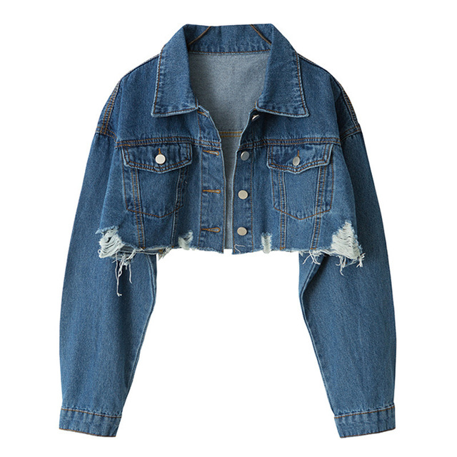 2019 Loose Skinny Jacket Short Holes Cowboy Loose Coat Woman 4