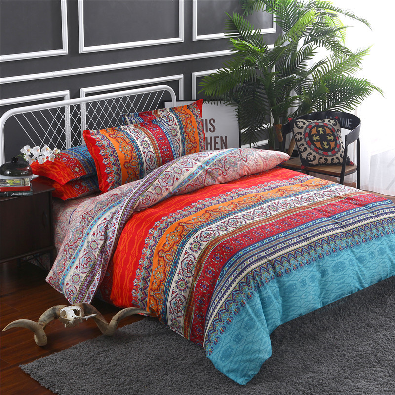 Bohemian Mandala Duvet Cover with Pillow Case Flat Sheet Quilt Cover Bedding Set