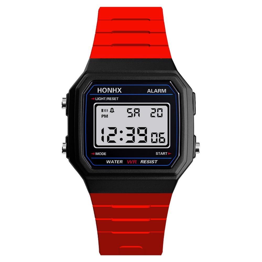 LED Electronic Digital Student Watch Fashion Children Wrist Watches Clock Boy PU Leather Kids Man School Hour Clock C035