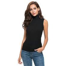 Summer Woman Tshirts Sexy Slim Fit Solid Sleeveless Tops Turtleneck T Shirt Women 2021 Fashion Женские Футболки